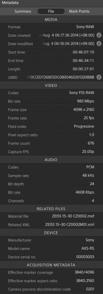 Camera metadata is easily viewed