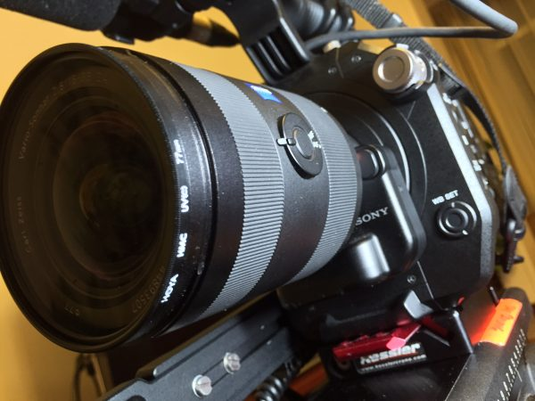 Zeiss 16-35 f2.8 ZA lens with LA-EA4 adapter on the FS7