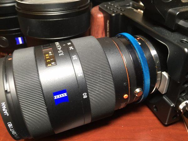 The Novoflex Sony A to MFT adapter on a Blackmagic Pocket Cinema Camera