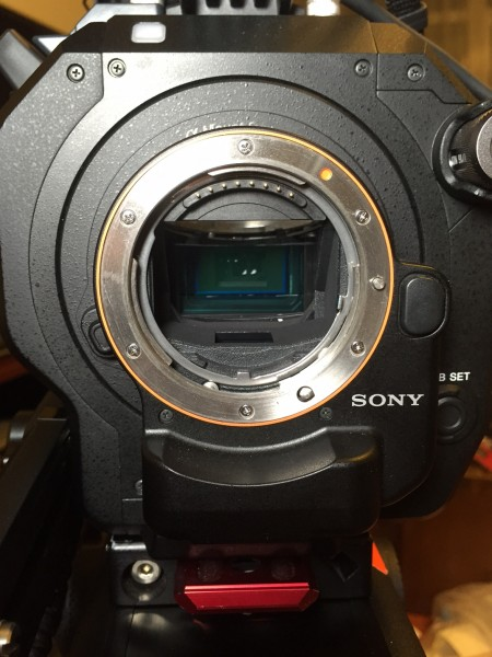 The Sony LA-EA4 adapter on the FS7 - note the translucent mirror