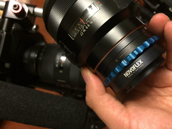 The lovely Novoflex mechanical A-mount to E-mount lens adapter with blue iris ring