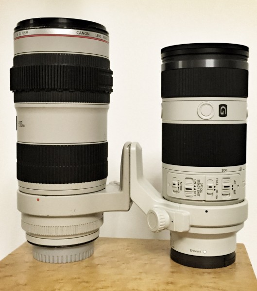 Canon's 70-200 f2.8L IS II next to the Sony 70-200 f4 FE lens
