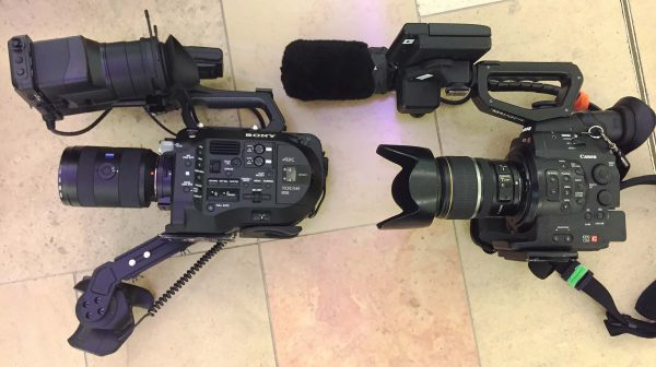 My FS7 and Newsshooter contributor Nathan Mauger's Canon C300 ready to go out for filming in Hong Kong.