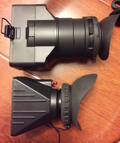 The Sony FS7 loupe (top) and much shorter Zacuto BMPCC Z-finder.