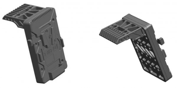 The V-lock battery plate attaches to mounting points on the top of the camera