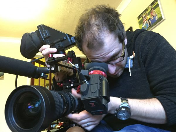 Newsshooter team member Simon Glass checking out the Zacuto Gratical against a Sony EVF