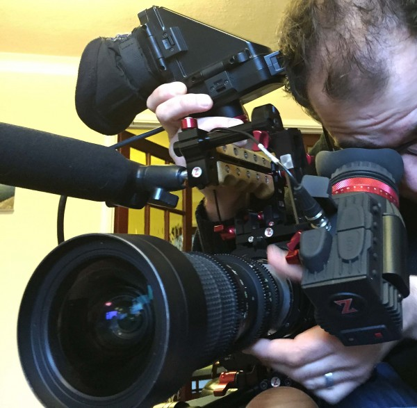 Newsshooter team member Simon Glass comparing the Gratical to Sony's DVF-L350 EVF on my F5