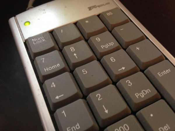 The numeric keypad controls RGB colour balance