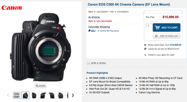 The Canon C500 is now $15999.