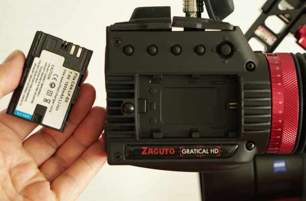 The Gratical is powered by Canon style LPE-6 type batteries