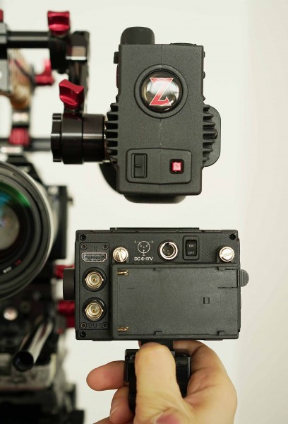 The Gratical (top) has a much narrower profile than competing Cineroid Retina EVF - this makes the Zacuto less likely to block wide lenses