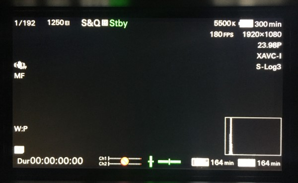For 180fps shooting the FS7 must be set to record in the XAVC-I codec