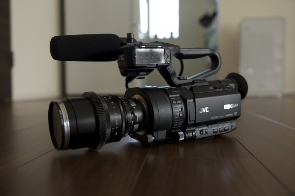 The JVC GY-LS300 with Zeiss ZF lens attached using an adapter