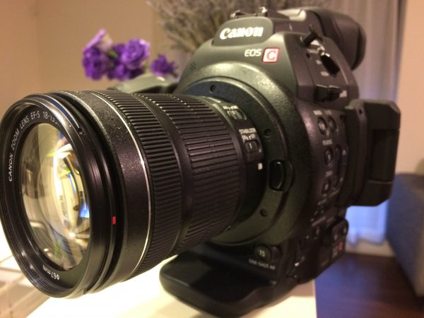 The C100 Mark II with a 18-135mm f3.5-5.6 IS STM lens