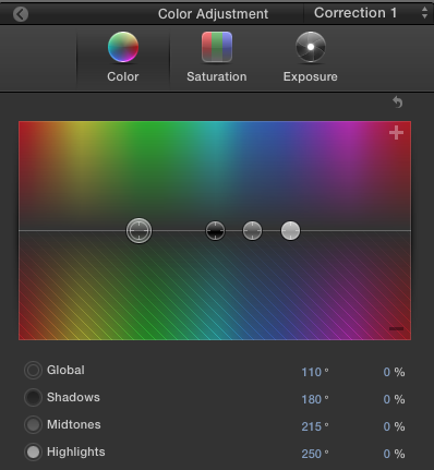 FCPX tried to turn the colour wheel into a colour square