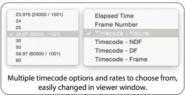 Multiple timecode options and frame rates are available