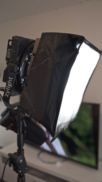 Using an old Chimera soft box that I had from a 1x1 Litepanel