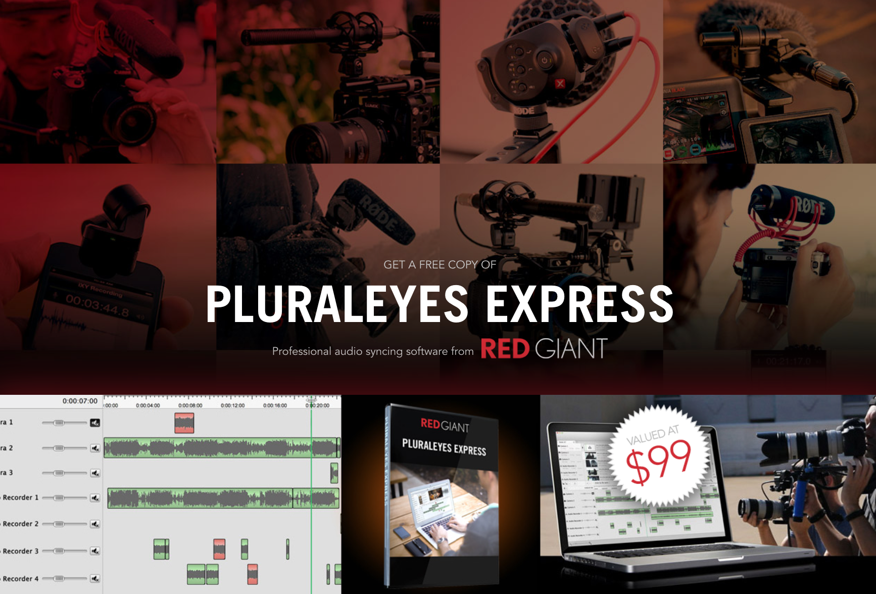 Purchase a RØDE microphone between April and December 2015 and get a free copy of PluralEyes Express