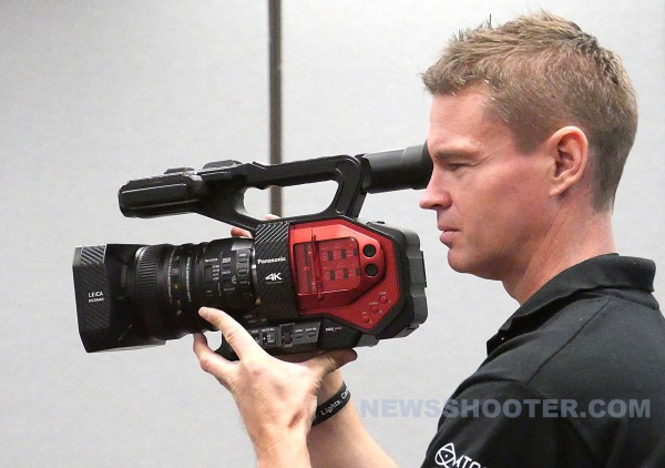 Newsshooter Technical Editor Matt Allard holds the new Panasonic AG-DVX200 moments after it was introduced at NAB