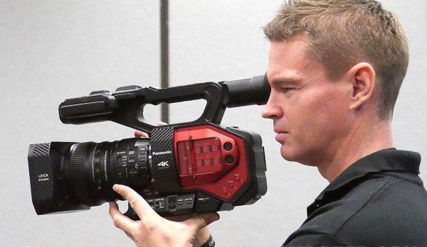 Newsshooter Technical Editor Matt Allard holds the Panasonic AG-DVX200.