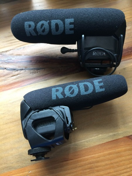 The new RodeMic Pro above and the current version below.