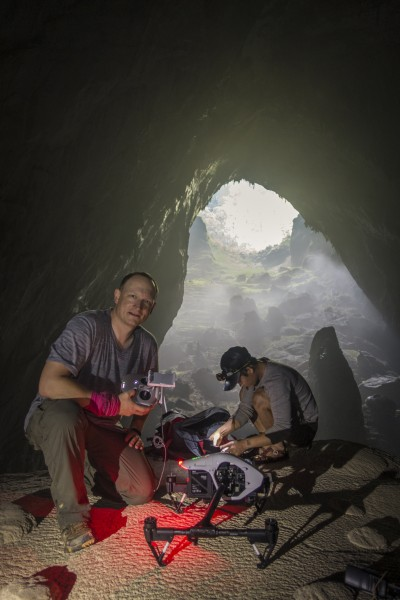 DJI's Romeo Durscher prepares for take off in the spectacular Son Doong cave