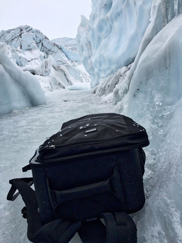 The Helipak is water resistant, even glacier water.