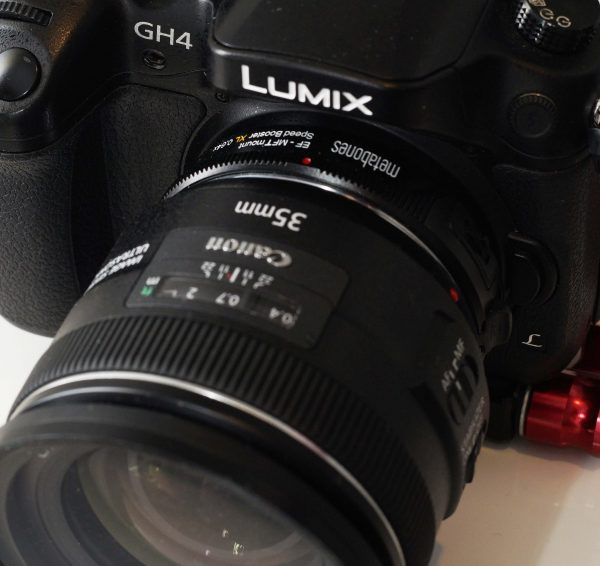 Speedbooster with Canon 35mm f2 IS lens. The image stabiliser works well.