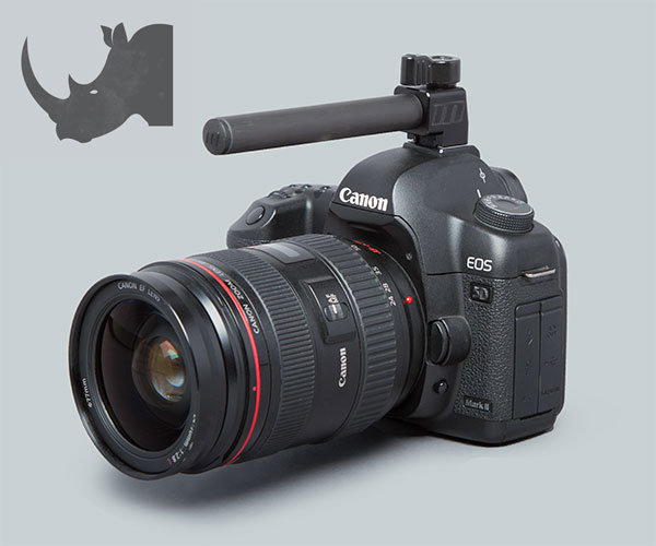 The Rhino rail works in DSLRs, compact system cams and larger cameras.