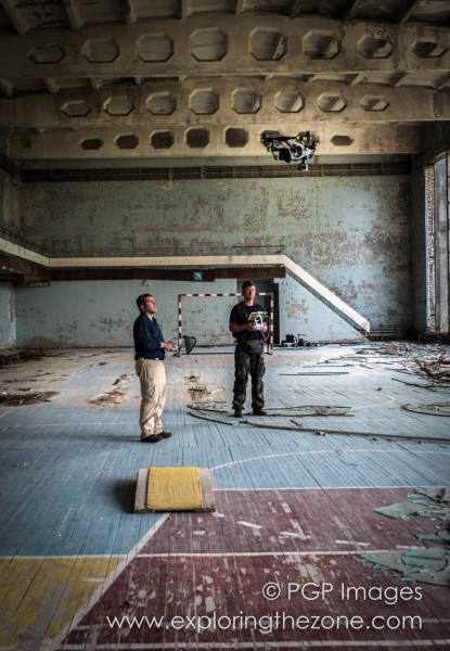 Inspire 1 launched inside Palace of Culture Energetik, Pripyat. Dual-operator control allows one person to concentrate on flying and one on operating the Inspire 1's camera.