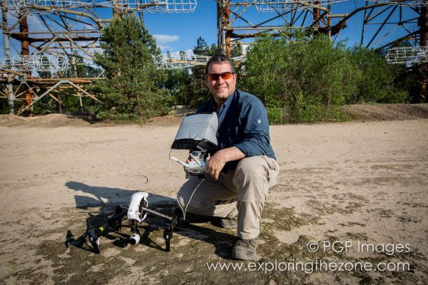 Philip Grossman in the Chernobyl Nuclear Exclusion Zone with his DJI Inspire 1 drone
