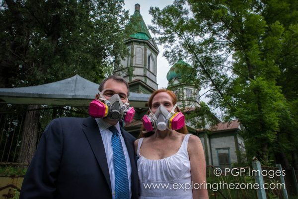 Mr and Mrs Grossman in on their wedding day. In Chernobyl. Respirators, models' own