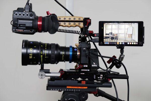 The a7R II with Zeiss 15.5-45 LWZ cine lens, Atomos Shogun 4K recorder and Zacuto shoulder rig