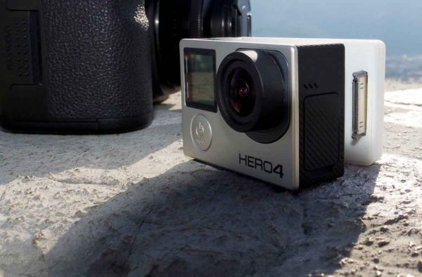 The GoPro version of SteadXP is built into a custom back for the camera