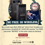 Free SmallHD AC7 monitor with purchase of Teradek Bolt 2000 or Paralinx Arrow-X wireless systems
