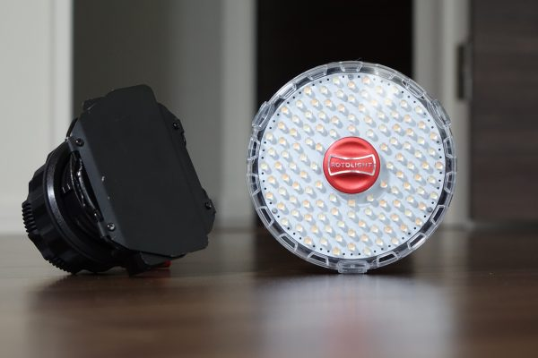 The Litepanels Sola on the left and the Rotolight NEO on the right