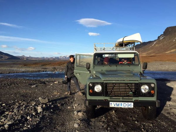 Thomas Hole on location in Iceland: of course the problem with a Land Rover is you can always hop out of it to get just one more shot...