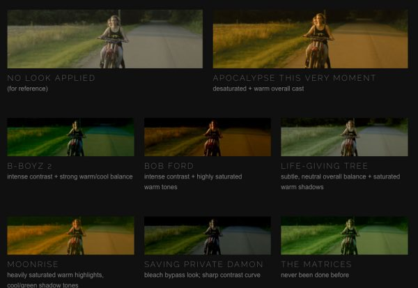 Examples of the free LUTs SmallHD is making available on their website, from 'Apocalypse This Very Moment' to 'The Matrices'