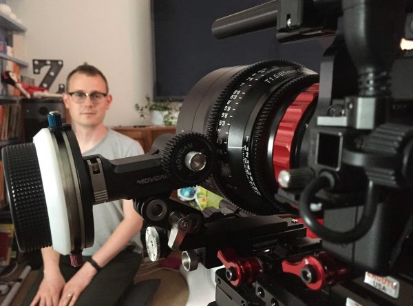 The 85mm test setup with Movcam follow focus