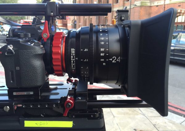 The test rig with Sony a7R II and Zacuto VCT baseplate, Brighttangerine Misfit Atom mattebox and Vocas PL adapter
