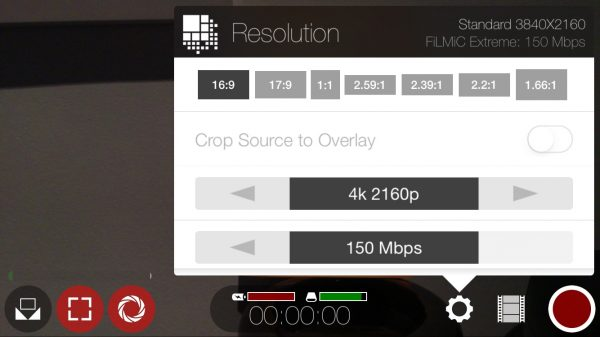 FiLMiC Pro is buggy but can  record 4K at 150 Mbps