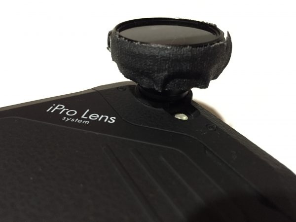 The iPro wide angle lens with ND filter gaffer taped to the front