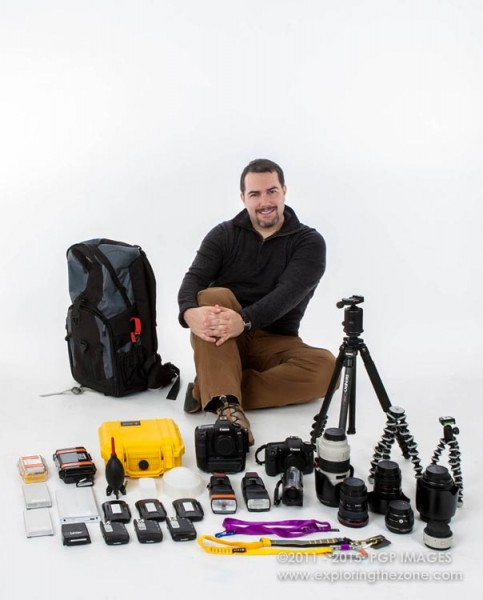 Grossman with the 46 lbs of gear he took on hi very first expedition to Chernobyl in 2011