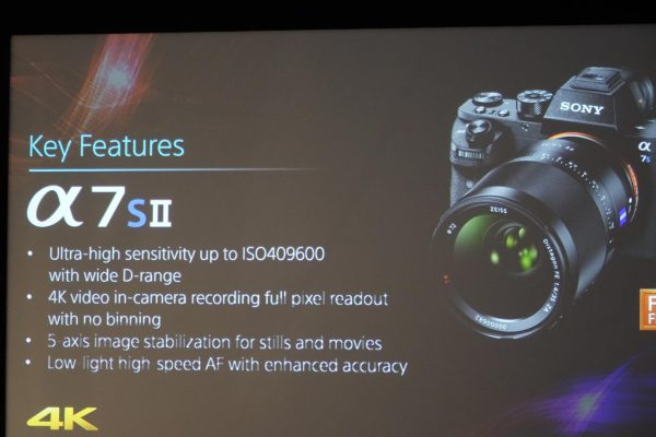 A7s II camera specs from Sony's press conference at IBC 2015