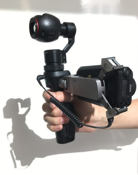 Osmo in video journalism mode with Rodelink wireless mic fitted