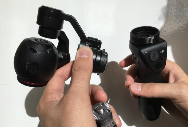 The X3 camera and gimbal detach from the OSMO handle and the X5 camera can be attached in its place