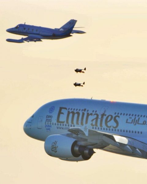 The Aerovision Corvette filming the Jetmen and the Airbus A380. Photo: Dubai Film