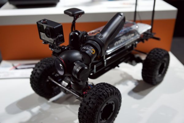 A DJI Osmo mounted onto a off road remote controlled car