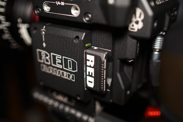 The RED Mini-mag media inserted into the camera