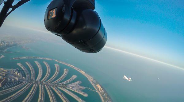 The Shotover F1 gimbal and the Emirates Airbus A380.  Photo: Dubai Film